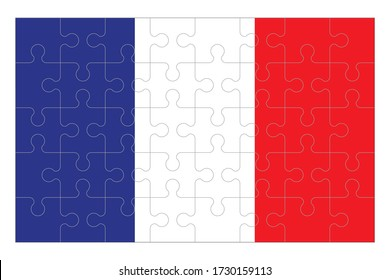 Flag of France with jigsaw puzzle pieces. Set of forty puzzle pieces. Stock vector illustration isolated on white background.