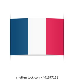 Flag of France, officially the French Republic. Vector illustration of a stylized flag. The slit in the paper with shadows. Element for infographics.