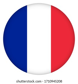 Flag of France round icon, badge or button. French national symbol. Template design, vector illustration.