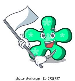 With flag free form mascot cartoon