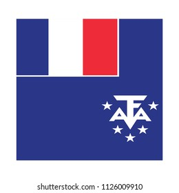 Flag of French Southern and Antarctic Lands,French Southern and Antarctic Lands flag Vector Square Icon - Illustration, Flag of French Southern and Antarctic Lands. Abstract concept, icon, square.