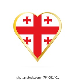Flag of Georgia in the shape of Heart, symbol of Love Gold version.