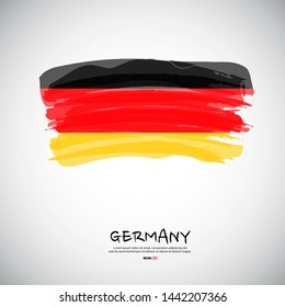 Flag of Germany with  brush stroke, grunge style background vector.