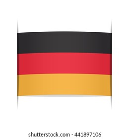 Flag of Germany, officially the Federal Republic of Germany or FRG. Vector illustration of a stylized flag. The slit in the paper with shadows. Element for infographics.