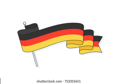 Flag of Germany with three stripe. German flag. Trendy wave ribbon flag with three stripe different color - Black, Red, Yellow. Colorful icon flag of Germany and symbol country. Vector Illustration