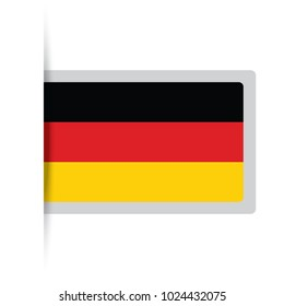 Flag of Germany. Vector illustration of a stylized flag. The slit in the paper with shadows. isolated on white.