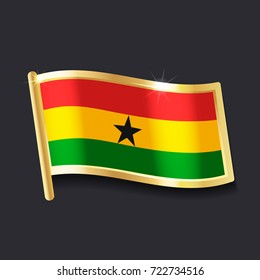 flag of Ghana in the form of badge, flat image