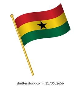 Flag of Ghana, Ghana flag Golden waving isolated vector illustration eps10.