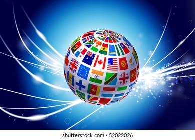Flag Globe on Abstract Modern Light Background Original Illustration