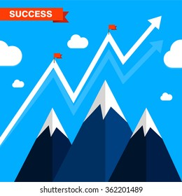 Flag with glowing graph arrow. Success illustration. Goal achievement. Business concept. Winning of competition or triumph design. our mission brochure title page template vector illustration