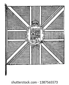 The flag of the Governor-General of the British Empire, this flag has cross of vertical lines superimposed on saltire, it has shield surrounded by laurel wreath with crown on top in center of the flag