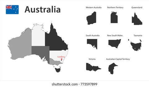 Flag and gray map of Australia with borders. Vector illustration.