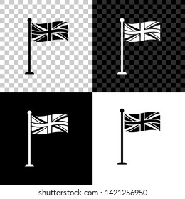Flag of Great Britain on flagpole icon isolated on black, white and transparent background. UK flag sign. Official United Kingdom flag sign. British symbol. Vector Illustration
