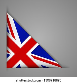 Flag of the Great Britain . Realistic flag of England. Paper cutting style.Corner Ribbon. Isolated Vector illustration.