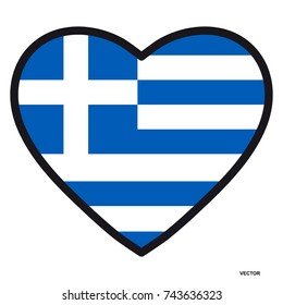 Flag of Greece in the shape of Heart with contrasting contour, symbol of love for his country, patriotism, icon for Independence Day.