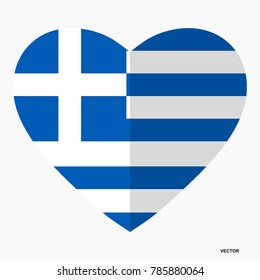 Flag of Greece in the shape of Heart, flat style, symbol of love for his country, patriotism, icon for Independence Day.