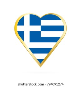 Flag of Greece in the shape of Heart, symbol of Love Gold version.