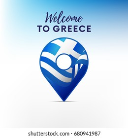 Flag of Greece in shape of map pointer or marker. Welcome to Greece. Vector illustration.
