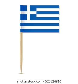 Flag of Greece. Flag toothpick isolated on white background 10eps