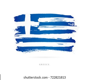 Flag of Greece. Vector illustration on white background. Beautiful brush strokes