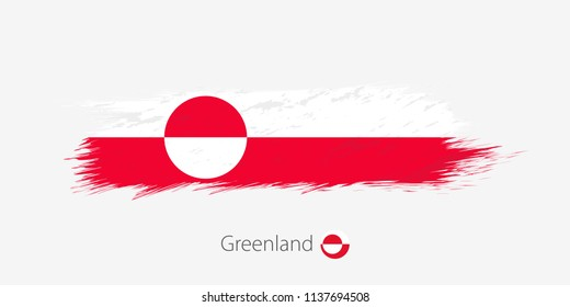 Flag of Greenland, grunge abstract brush stroke on gray background. Vector illustration.