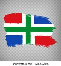 Flag of  Groningen brush strokes. Flag of Groningen on transparent background for your web site design, logo, app, UI. Netherlands. EPS10.