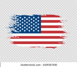 The flag of grunge of the United States of America color, brush. Vector art design, template, multi-colored us flag. Blue, red, white. Object on a transparent isolated background.