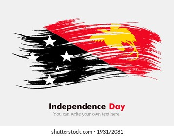 Flag in grungy style. Independence Day. Flag of Papua - New Guinea