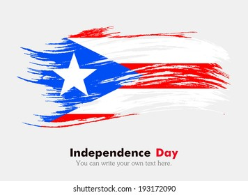 Flag in grungy style. Independence Day. Flag of Puerto Rico
