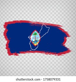 Flag  of Guam from brush strokes and Blank map Guam. High quality map of Guam and flag on transparent background for your web site design, app, UI. Oceania. USA. EPS10.