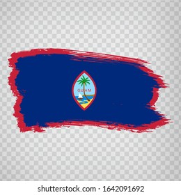 Flag of Guam from brush strokes. Flag of Guam Territory on transparent background for your web site design, app, UI.  Oceania. USA. Stock vector.  EPS10.