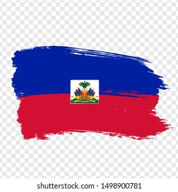 Flag Haiti from brush strokes. Flag Republic of Haiti on transparent background for your web site design, logo, app, UI. Stock vector.  EPS10.