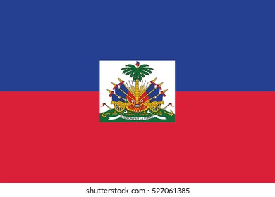 Flag of Haiti with Coat of Arms. Vector Format