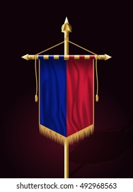 Flag of Haiti. Festive Banner Vertical Flag with Flagpole. Wall Hangings with Gold Tassel Fringing