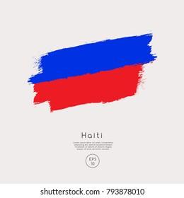 Flag of Haiti in Grunge Brush Stroke : Vector Illustration