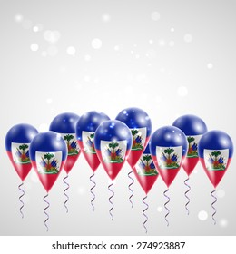 Flag of Haiti on balloon. Celebration and gifts.