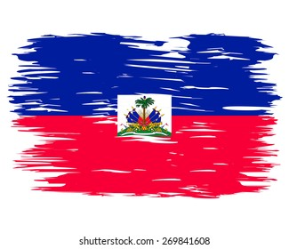 Flag of Haiti.  Painted brush colored inks. Symbol Independence Day National Patriotic Travel Country Background Grunge Paint Stock Vector Icon Logo Picture Image Illustration Political