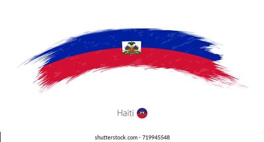Flag of Haiti in rounded grunge brush stroke. Vector illustration.