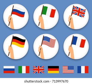 Flag in hand round icons set. Human hands holding flags of different countries, vector illustration