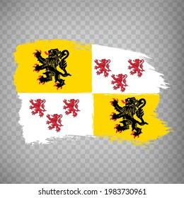 Flag of Hauts-de-France brush strokes. Flag Region Hauts-de-France of France on transparent background for your web site design, app, UI. French Republic.  EPS10.