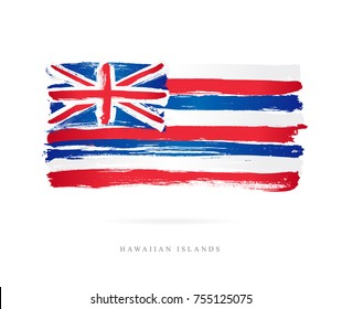 Flag of Hawaii. Vector illustration on white background. Beautiful brush strokes. Abstract concept. Elements for design.