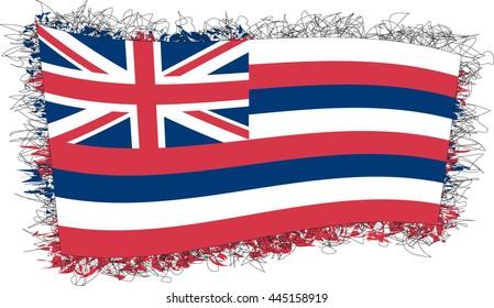 Flag of Hawaii. Vector illustration of a stylized flag. Shaggy edge.