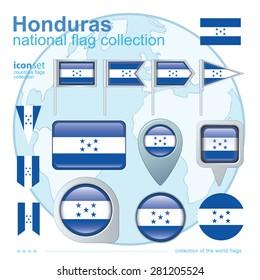 Flag of Honduras, icon collection, vector illustration