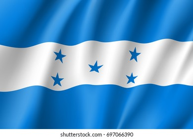 Flag Honduras realistic icon. State insignia of the nation in realistic style on the entire page. Waving state flag. National symbol in the form of a vector illustration