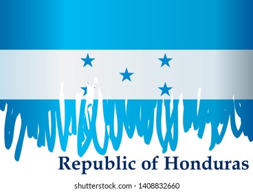 Flag of Honduras, Republic of Honduras. Template for award design, an official document with the flag of Honduras. Bright, colorful vector illustration.