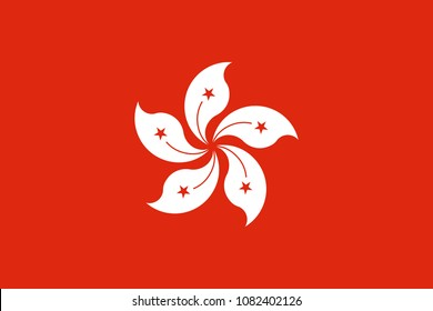 The Flag of Hong Kong. National symbol of the state. Vector illustration.