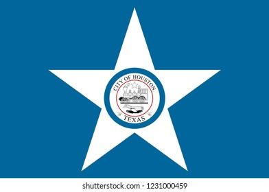 Flag of Houston is the most populous city in the U.S. state of Texas and the fourth most populous city in the United States. Vector illustration