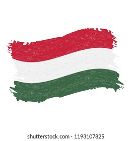 Flag of Hungary, Grunge Abstract Brush Stroke Isolated On A White Background. Vector Illustration. National Flag In Grungy Style. Use For Brochures, Printed Materials, Logos, Independence Day
