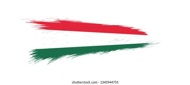Flag of Hungary in grunge brush stroke, vector grunge illustration.