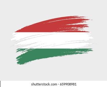 Flag of Hungary grunge style. Isolated vector illustration on white background.